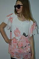 Женская шифоновая блуза в цветы с валаном Италия, фото 1