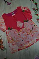 Женская шифоновая блуза в цветы с валаном Италия