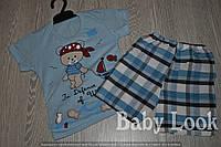 Комплект для мальчика: футболка с рисунком мишки и клетчатые шорты