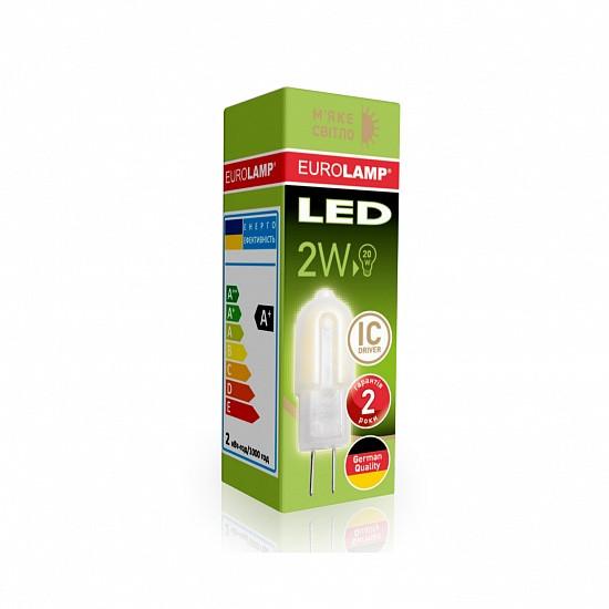 LED Лампа EUROLAMP G4 капсула 2W 3000K 220V пластик