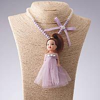 Бусы брелок  детские  на резинке L-36см Кукла сиреневое платье L-11см
