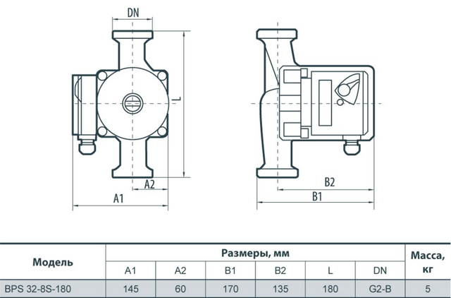 циркуляционный насос «Насосы + Оборудование» BPS 32–8S–180 размеры