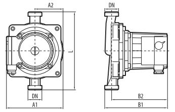 циркуляционный насос «Насосы + Оборудование» BPS 20–12S–180 размеры