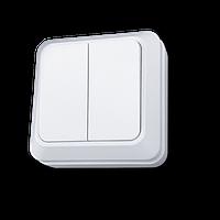 Выключатель двухклавишный 10А белый внешний