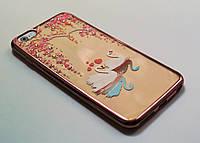 Чехол на Айфон 6 Plus/6s Plus Силикон Swarovski Лебеди Розовое золото Прозрачный