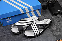Мужские шлёпанцы Adidas темно синие с белым 2343