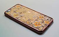 Чехол на Айфон 6 Plus/6s Plus Силикон Swarovski Цветы Розовое золото Прозрачный