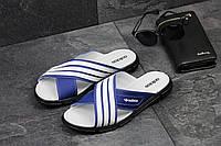Мужские шлёпанцы Adidas ярко синие с белым 2344