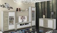 Гостиная Пуэро комплект 2058х3344х480мм дуб крафт серый + белый глянец Сокме