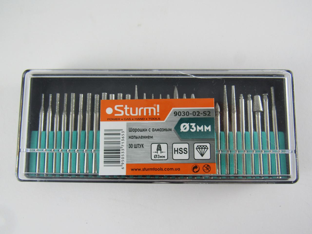 Шарошки с алмазным напылением, 30 шт (3ммX45мм) Sturm 9030-02-S2