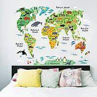 Наклейка Карта Мира c с животными