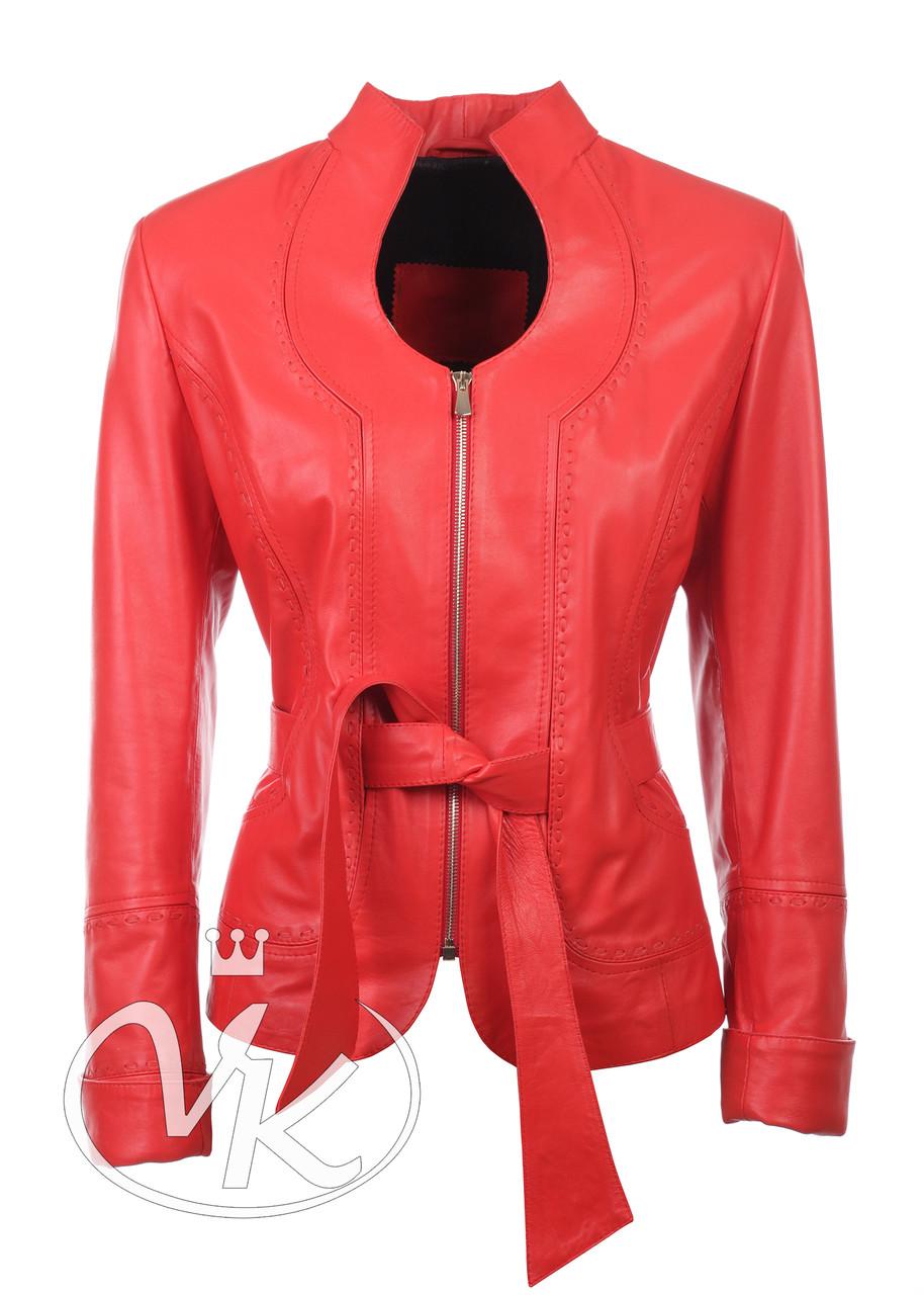 Красная кожаная куртка короткая женская под пояс (Арт. FER2-261)