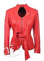 Красная кожаная куртка под пояс, фото 1