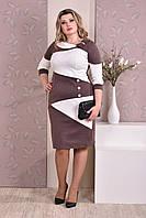 Коричневое с белым платье 0185-2