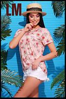Женская персиковая футболка с цветами, размеры 42-44, 44-46, 46-48, 48-50, 50-52