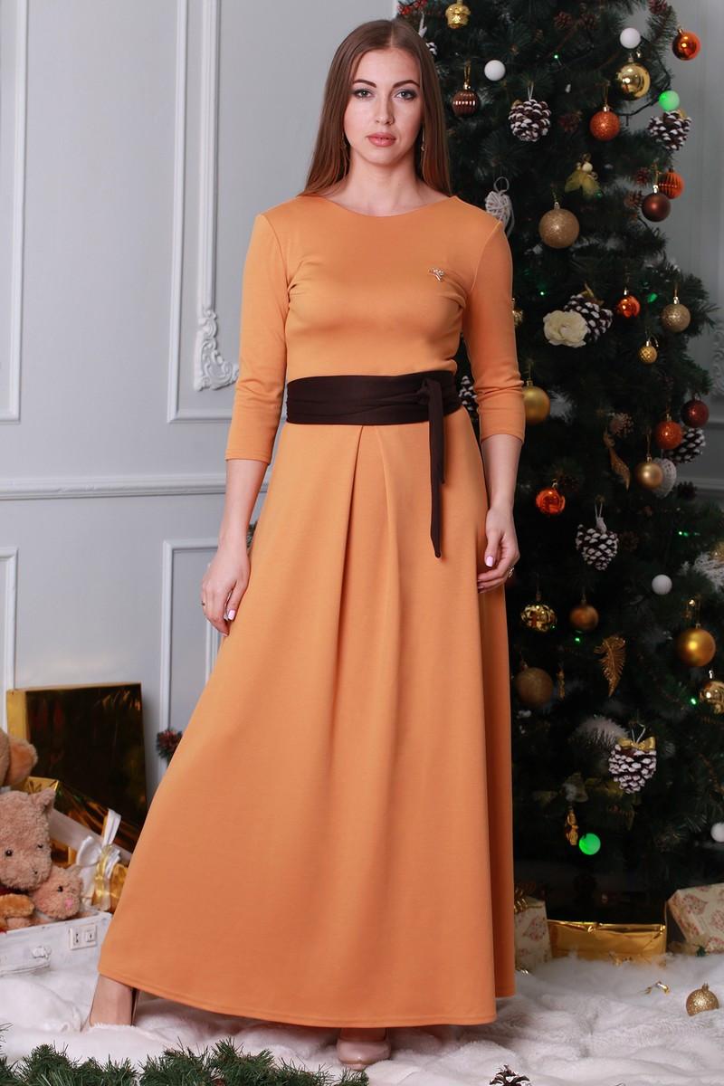 Шикарное длинное трикотажное платье с поясом Шарлотта-2, цвет горчица.