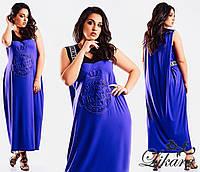 Женское стильное батальное макси платье
