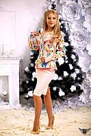 Женский костюм пиджак с принтом и юбка миди Цвета: