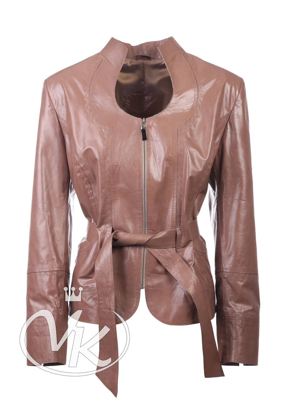 Коричневая кожаная куртка короткая женская 52 размера (Арт. FER2-221)