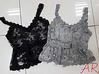 Кружевной топ цвет серый и черный. размер уни с-м