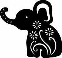 Виниловая интерьерная наклейка - Слоник с цветами