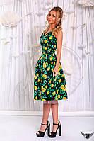 Платье миди с цветочным принтом желтый