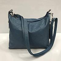 Женская сумка клатч Bars 2344 кожаный с тиснение под рептилию на плечевом ремне синий