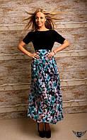 Платье в пол с принтованной юбкой Цвета: