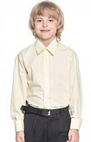 Классическая рубашка для мальчика длинный рукав бежевая
