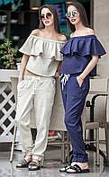 Женский летний льняной костюм Linen (разные цвета)