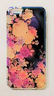 Чехол на Айфон 6/6s Силикон под углом Блестит Полупрозрачный Цветы, фото 1
