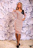 Платье миди с отделкой из эко-кожи и принтом Цвета: