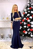 Платье в пол с принтованым поясом и манжетами Цвета: