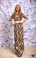 Платье в пол с рукавом 3/4 в клеточку Цвета: