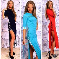 Коротенькое платье с разрезами по бокам и рукавом 3/4 ментол