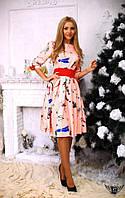 Платье миди с рукавом 3/4 и принтом Цвета: