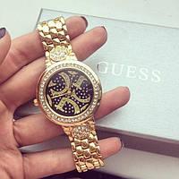 Часы Guess женские с камнями (черный циферблат)