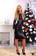 Платье миди с длинным рукавом из эко-кожи электрик
