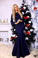 Платье в пол с широким рукавом и молнией на спине тёмно-синий