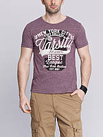 Мужская футболка LC Waikiki гранатового цвета с рисунком и надписью на груди New York city