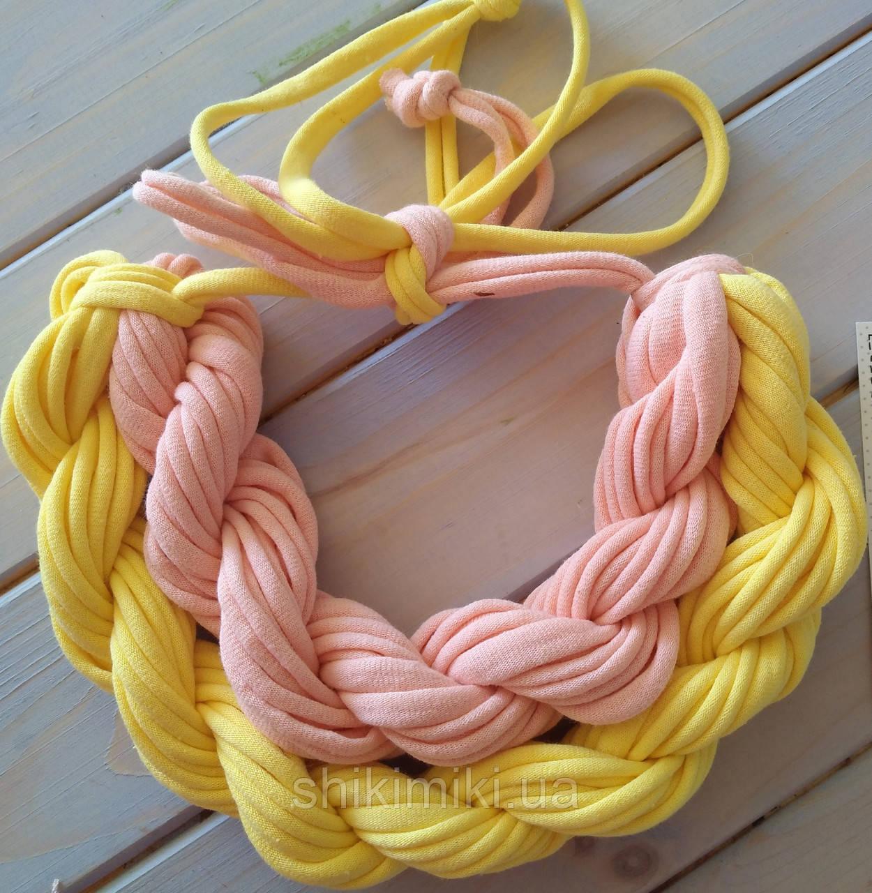 Колье женское вязаное из трикотажной пряжи Карамель