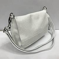 22f26d757675 Женская сумка клатч Bars 2347 кожаный белый с тиснение под рептилию на  плечевом ремне