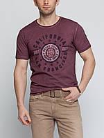 Мужская футболка LC Waikiki бордового цвета с надписью на груди California