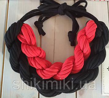 Колье женское вязаное из трикотажной пряжи Вышиванка