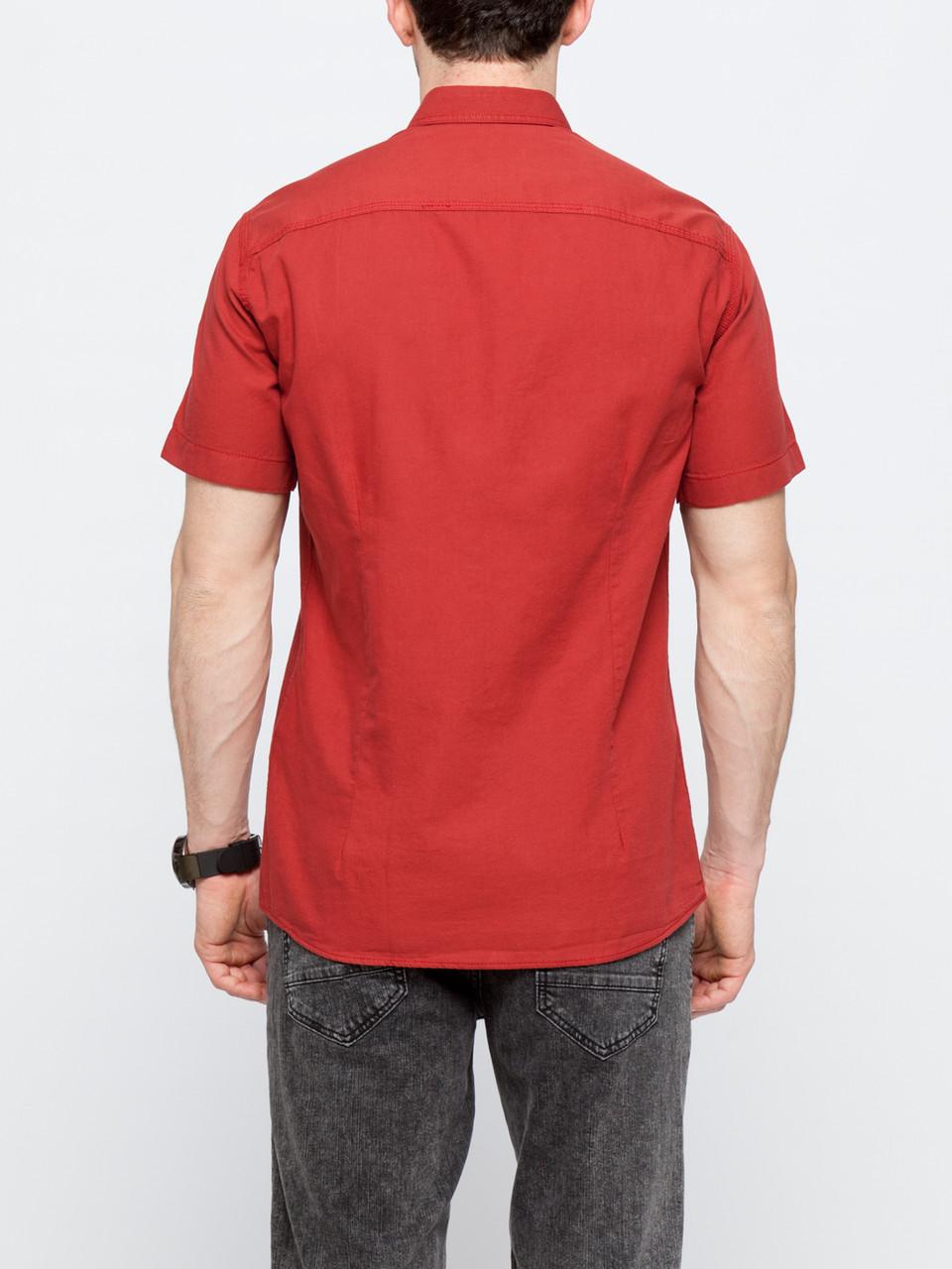 ce45d62201b6b2b Мужская рубашка LC Waikiki с коротким рукавом красного цвета, цена 505,34  грн., купить в Днепре — Prom.ua (ID#546289872)