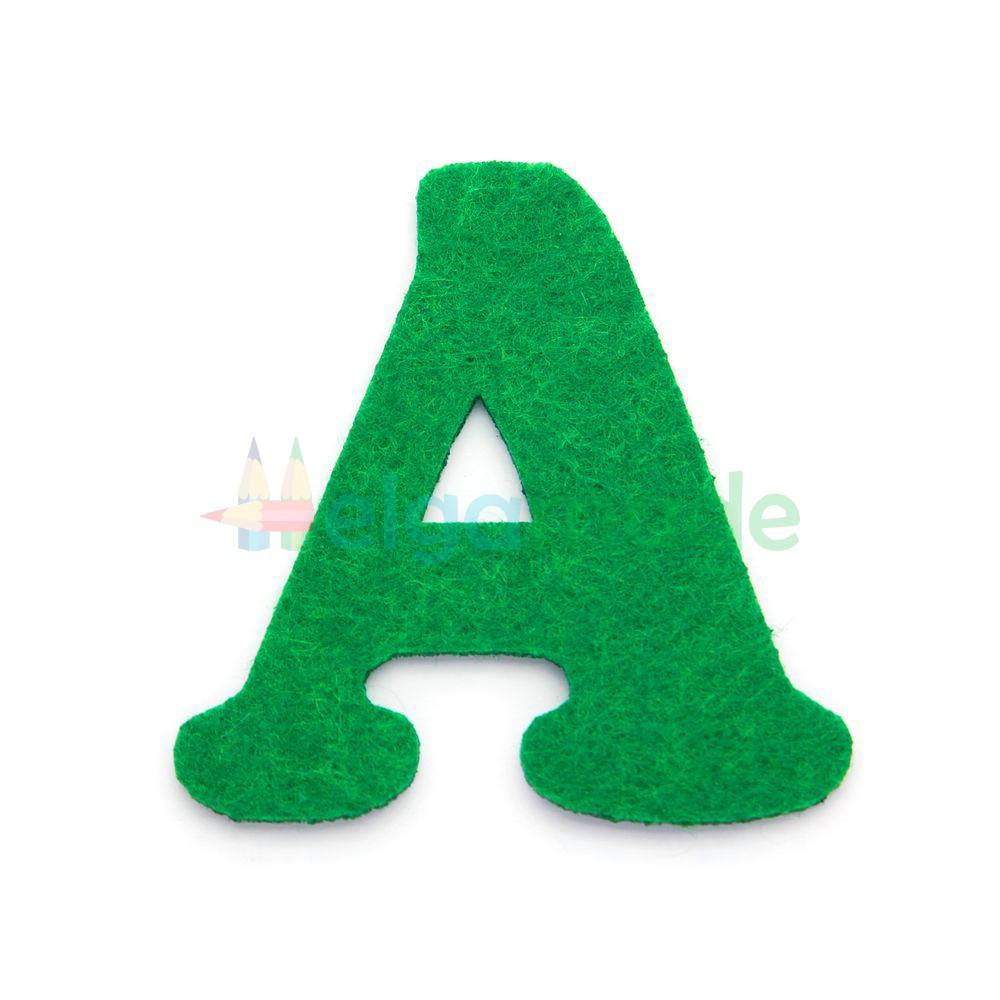 Буква из фетра А, ЗЕЛЕНАЯ, 64х65 мм, 2 мм