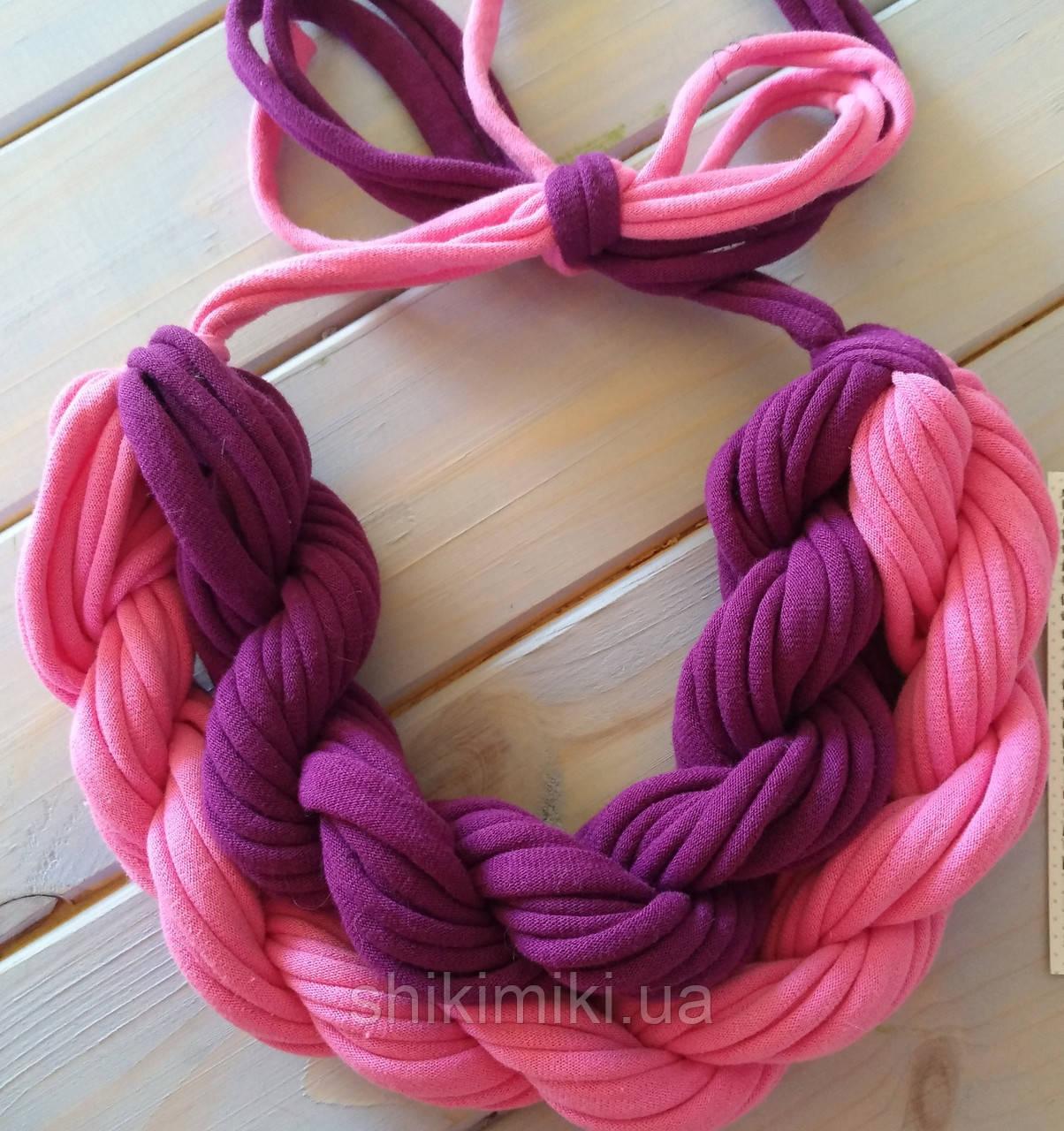 Колье женское вязаное из трикотажной пряжи Ягодное