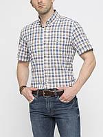 Мужская рубашка LC Waikiki с коротким рукавом белого цвета в сине-бежевую полоску