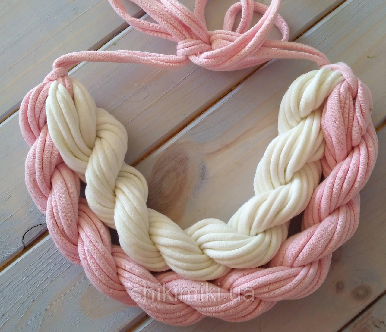 Колье женское вязаное из трикотажной пряжи Зефирка