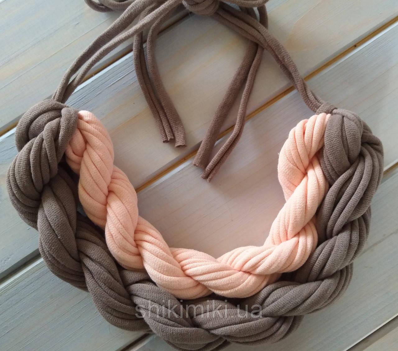 Колье женское вязаное из трикотажной пряжи Сандра